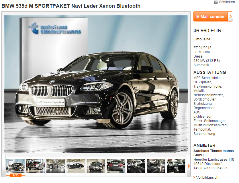 BMW 535d Duitsland